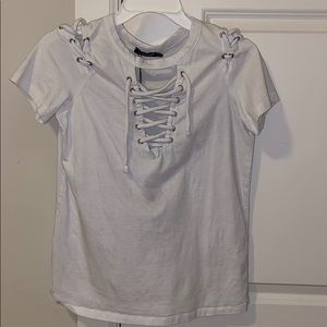 White lace up tee
